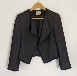 LOFT Black Raw Hem Tweed / Knit Open Front Jacket
